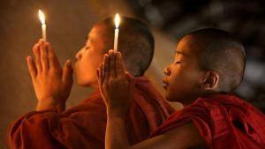 Monks with candles